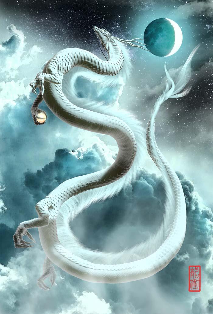 龍画「三日月と白龍」