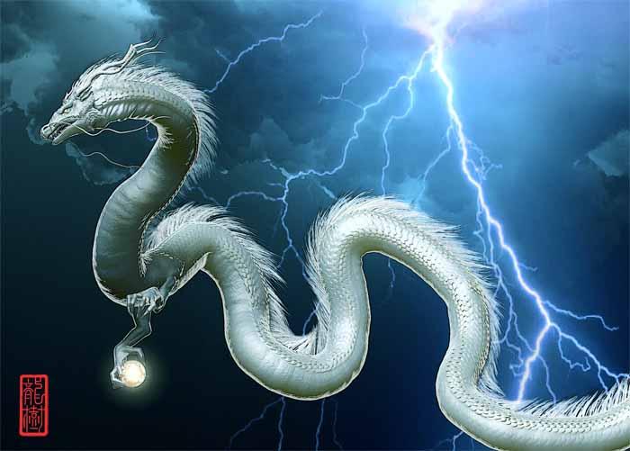 龍画「稲妻と白龍」