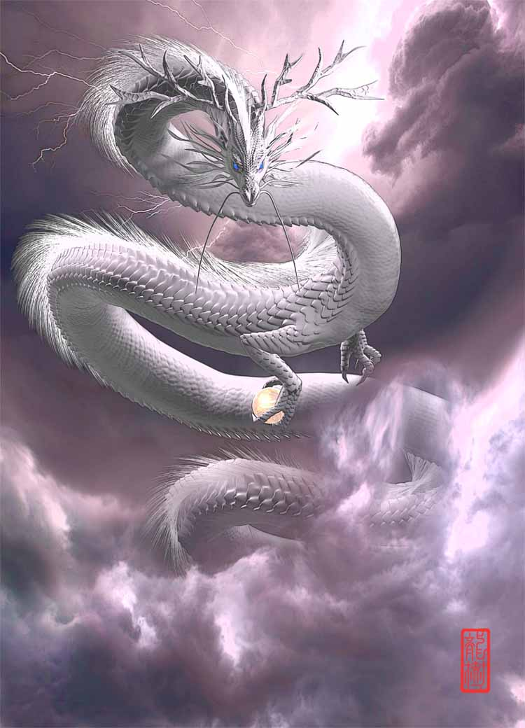 龍の絵「白龍3」